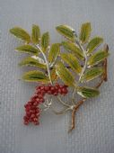 Vintage Exquisite Brooch -1960's Cold Enamel Mountain Ash Brooch signed Exquisite (SOLD)